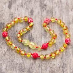 Colier copii cu margele din chihlimbar baltic galben si jasp rosu