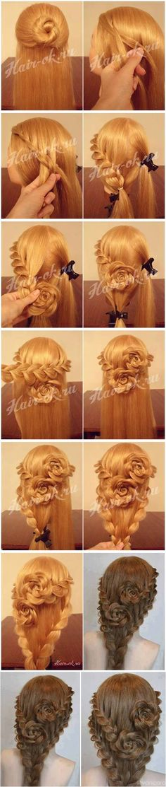 How To DIY Pretty Rose Braids Hairstyle #fashion #hairstyle