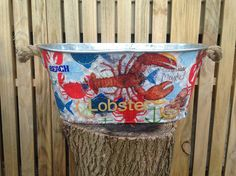 Lobster galvanized oval bucket tin wedding card holder