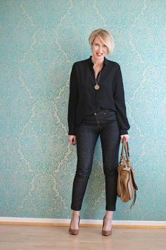 A fashion Blog for women over 40 and mature women http://www.glamupyourlifestyle.com/ Blouse: Other Stories Jeans: Selfnation Shoes: Boss Bag: Chlo�