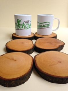 Rustic wooden coasters - set of 6 by ChickWithChainsaw on Etsy