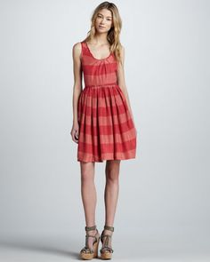 Sleeveless Striped Silk Dress by Burberry Brit at Neiman Marcus.