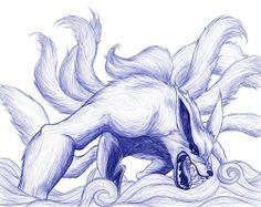 kurama naruto   Naruto: Kurama, the nine-tailed fox sketch by kimberly-castello