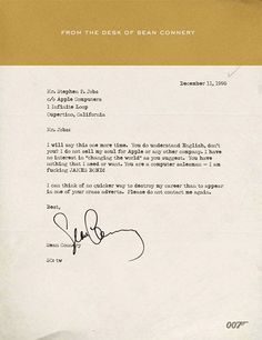 Letter to Steve Jobs from Sean Connery (007)