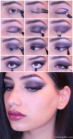 [Tutorial] Dark Eyes Make up - IT'S GILDA  eye make up, augen, makeup, lidschatten, eyeliner, eyeshadow, tutorials, purple, blue, blau, lila, schwarz, lidstrich, strich, blogger, pinsel, deutsch, english, blog, beautyblogger