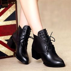 Spring women's shoes British wind small leather shoes leather high-heeled boots women's boots with Martin boots with thick leather boots