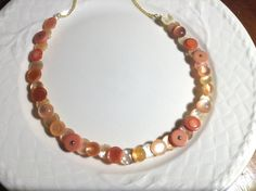 Peach Parfait button necklace