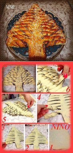 Traditional Braided Nutella Christmas Tree Bread - DIY Recipe - AllDayChic