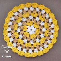Crochet Granny Doily Free Crochet Pattern - Crochet 'n' Create A crochet granny doily, I love this stitch pattern, I don't know about you but the granny stitch was one of the first stitches I was . Granny Square Crochet Pattern, Crochet Round, Crochet Squares, Crochet Granny, Free Crochet Doily Patterns, Crochet Coaster Pattern, Crochet Motif, Crochet Crafts, Crochet Projects