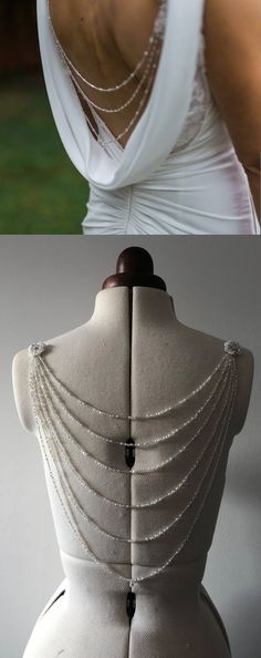Beautiful bridal back necklace from £45.00 to add to back of your wedding dress gown. This is the most popular back necklace style. Can be made in many different strand amounts from two to eight. Beaded with Swarovski crystals in colour AB and clear, ivory pearls and clear/silver glass seed beads. Really pretty bridal wedding dress idea. #bridal #bridaljewellery #bride #weddings #wedding #weddingdress #affiliatelink #etsy
