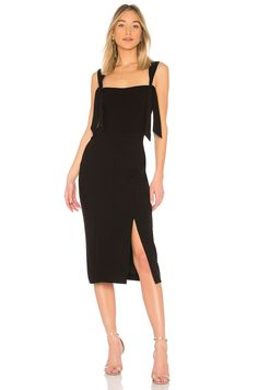 Rebecca Vallance Havana Midi Dress in Black   REVOLVE