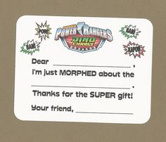 Power Rangers - Dino Charge - Samurai - Pink Power Rangers - Fill in the Blank Thank You Notes - Great for Children's Birthday Parties by CardsByKooper on Etsy
