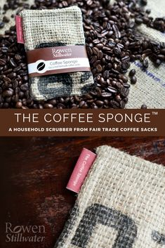 The Coffee Sponge™ is a reusable, sustainable, zero waste kitchen scrubber made from recycled fair trade coffee sacks. Jute, Diy Sponges, Coffee Bean Sacks, Burlap Sacks, Kitchen Sponge, Fair Trade Coffee, Zero Waste, Pure Products, Reuse Recycle