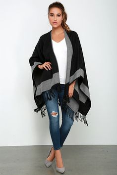 Black and Grey Reversible Poncho