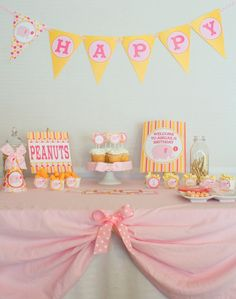 Pink & Orange Elephant Birthday Party Printables