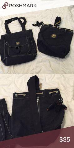 Lot of two Kipling bags Two black nylon Kipling backs. One is a tote...the other a drawstring/zipper sling backpack. Kipling Bags Satchels