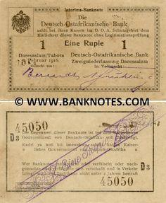German East Africa 1 Rupie 1916 -  Printer: Deutsch-Ostafrikanische Zeitung G.M.B.H. Daressalam. Right signature: A. Frühling. Watermark: Capital letters in some notes only.