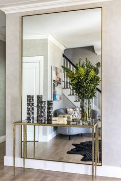 Mirror detail from Foyer by A-List Interiors decoration design Hall Mirrors, Living Room Mirrors, Living Room Decor, Foyer Mirror, Full Length Mirror Entryway, Wall Mirror Ideas, Mirror Walls, Dining Room With Mirror, Large Wall Mirrors