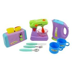 Buy Kitchen Appliances Toy for kids - Mixer, Toaster, Kettle, Cups & Utensils Set with discount. Kids Toy Kitchen, Kitchen Sets, Toy Kitchen Accessories, Kitchen Aid Appliances, Utensil Set, Toaster, Kettle, Cool Kitchens, Kids Toys