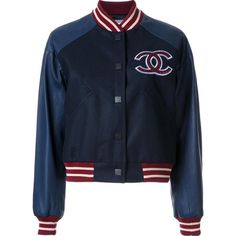 Chanel Vintage \'Stadium\' Jacket (448,585 DOP) ❤ liked on Polyvore featuring outerwear, jackets, chanel, coats & jackets, tops, blue, embroidered jacket, blue jackets, patch jacket and vintage jackets