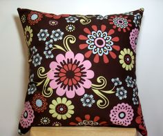 Decor Throw Pillow Cover - Brown Pink Blue Green - Bright Flowers Floral - 18x18. $16.00, via Etsy.