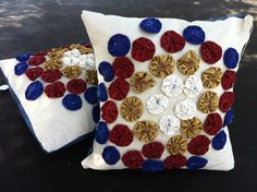 Granny Circles feather insert filled Pillows with demin envelope closures