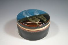 Seafoam glazed jewel jar made by Gary Shaffer Master Potter of Brooks West Virginia