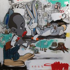 Hebru Brantley at it again with Distracted #FultonMarketChicago #Chicago #ChicagoArtist #ChicagoGallery #Afro-Futurist