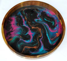 Neon Marble - Resin Art Tray Resin Crafts, Resin Art, Serving Tray Wood, Acacia Wood, Sea Foam, Nails Inspiration, Art Pieces, Marble, Neon
