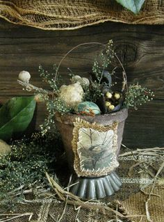 Primitive Spring Egg Baskets Gathering with Gourd and Quail Eggs Hand Stitched Bird and Broom