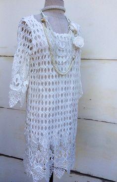 White Lace Summer Dress Romantic Chic Boho Crochet by KisKissay, $65.00