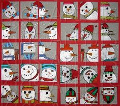 Drawings of the same snowmen face or part of the face from different points of view: front, side, above, from underneath, upside down etc. Colored with oil pastels. Outline everything with black oil pastel. Winter Art Projects, School Art Projects, Winter Project, January Art, 23 December, 3rd Grade Art, Snowman Faces, Snowmen, Ideias Diy