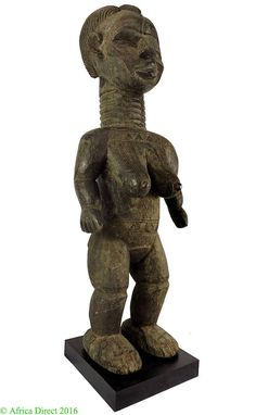 Bassa Female Statue with Scarification Liberia African Art 38 Inch 110068