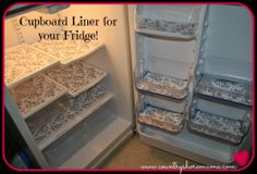 Use cupboard liner to line your fridge for easier clean-up! And it looks fabulous too