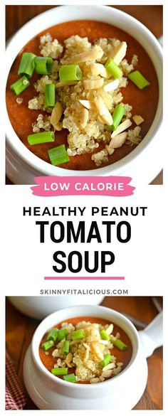 Healthy Peanut Tomato Soup made low calorie for a lighter meal. #healthy #peanut #tomato #soup #low #calorie #lowcalorie #meal #recipe #african #stew