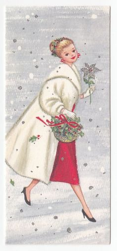 Vintage Greeting Card Christmas Fashionable Lady Fur Coat Gibson Mid-Century