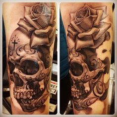 So glad I found this on Interest! I want a sugar skull like this on my arm. I love the realistic look.