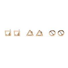 Boucles d'oreille dorées carré, rond et triangle