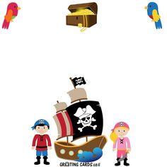 יום הולדת פיראטים Pirates, Playing Cards, Greeting Cards, Invitations, Playing Card Games, Save The Date Invitations, Game Cards, Shower Invitation, Invitation