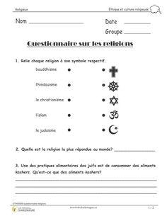 Ce document est un questionnaire afin de vérifier les apprentissages de vos élèves concernant les religions présentées en classe. Il est intéressant de l'utiliser en évaluation. Ce document comprend 2 pages. Vous pouvez jumeler ce document à notre document <em>Fiches religieuses</em> si vous voulez préparer les élèves au questionnaire.  2e cycle,3e année,3e cycle,4e année,5e année,6e année,Caroline B.,célébrations,Éthique et culture religieuse,éthique et culture… Religions Du Monde, World Religions, Religion Activities, Questionnaire, Cycle 3, Islam, Classroom, Teacher, Afin