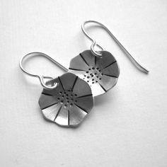 Silver Poppy Earrings sterling small half inch by GoneMetalStudio