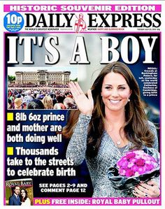 All that pink? But it's a boy, Daily Express!