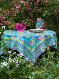 Jordan Tablecloth - Turquoise | Shop All Collections, Table Linens & Kitchen, Hot House :Beautiful Designs by April Cornell