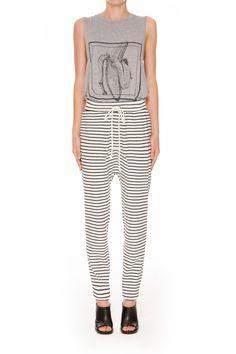 The Fifth Label | Laguna Track Pant | White + Black Stripe | $79.95 | BNKR | Shop The Fifth