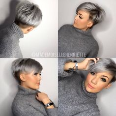 One of the most popular haircuts in 2016 is short hair. It is one Short Grey Hair Hair Haircuts Popular Short Short Grey Hair, Short Hair Cuts For Women, Short Hair Styles, Grey Pixie Hair, Short Hair Back View, Blue Grey Hair, Cute Short Haircuts, Edgy Pixie Haircuts, Undercut Pixie Haircut