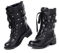 Womens Rivet Spike Motorcycle Boots Stilettos Punk High Heel Shoes Sz35-40