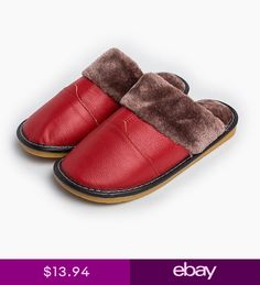 99252d244db1 Warm Thick Fur Lining Home Cow Leather Slippers Soft Sole Non Slip Flat  Shoes