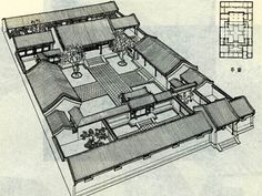 City Planning First Appeared in Zhou Dynasty - China culture Modern Japanese Architecture, Ancient Chinese Architecture, Asian Architecture, Courtyard House Plans, House Floor Plans, Traditional Chinese House, Chinese Courtyard, Animal Crossing, Sims