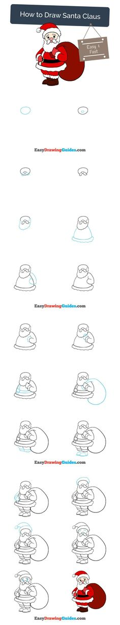 Learn How to Draw Santa Claus: Easy Step-by-Step Drawing Tutorial for Kids and Beginners. #santaclaus #christmas #yule #drawing #tutorial. See the full tutorial at https://easydrawingguides.com/how-to-draw-santa-claus/