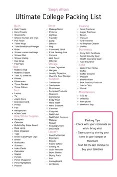 Want to know what to bring to college? This college packing list is filled with everything you need to bring for your dorm room. College Dorm List, College Dorm Checklist, College Dorm Essentials, College Dorm Rooms, College Supply List, College Hacks, Dorm Room List, College Necessities, Education College